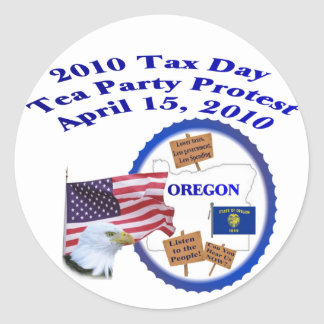 Oregon-Steuer-Tagestee-Party-Protest Runde Sticker