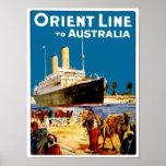 Orient-Linie nach Australien Posterdruck