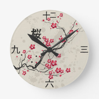 Orientalische Art-Kirschblüte-Kirschblüten-Kunst Runde Wanduhr
