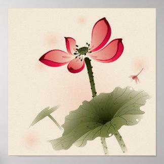Orientalische Art Lotus Poster