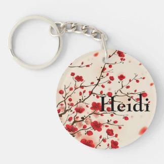 Orientalische Artmalerei, Pflaumenblüte im Frühjah Beidseitiger Runder Acryl Schlüsselanhänger