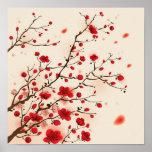 Orientalische Artmalerei, Pflaumenblüte im Frühjah Plakat