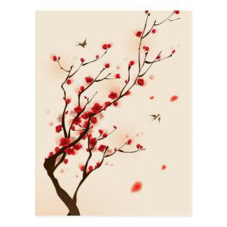 Orientalische Artmalerei, Pflaumenblüte im Frühjah Postkarte