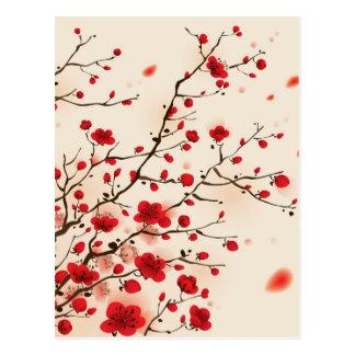 Orientalische Artmalerei, Pflaumenblüte im Postkarte