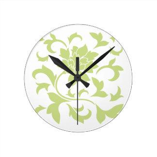 Orientalische Blume - Daiquiri-Grün Runde Wanduhr