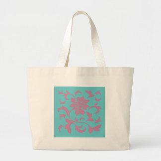 Orientalische Blume - Erdbeere u. reiner Türkis Jumbo Stoffbeutel