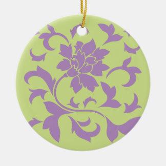 Orientalische Blume - Flieder-u. Daiquiri-Grün Keramik Ornament