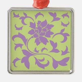 Orientalische Blume - Flieder-u. Daiquiri-Grün Silbernes Ornament