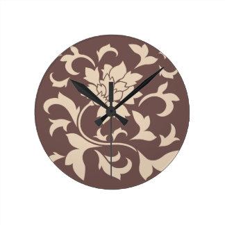 Orientalische Blume - Kaffee Latte Schokolade Runde Wanduhr
