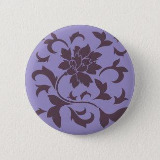 Orientalische Blume - Kirschschokolade u. violette Runder Button 5,7 Cm