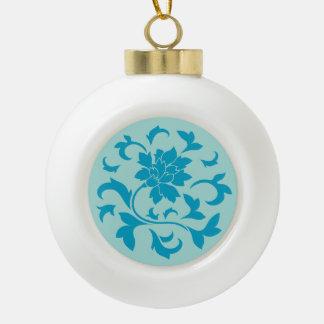 Orientalische Blume - Limpet-Muschel - Blau Keramik Kugel-Ornament