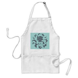 Orientalische Blume - Limpet-Muschel - graues Blau Schürze