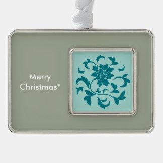 Orientalische Blume - Limpet-Muschel - Grün Rahmen-Ornament Silber