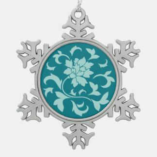 Orientalische Blume - Limpet-Muschel - Grün Schneeflocken Zinn-Ornament