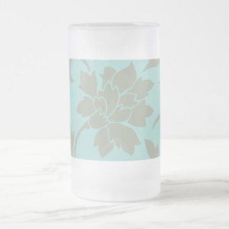 Orientalische Blume - Limpet-Muschel - olivgrünes Mattglas Bierglas