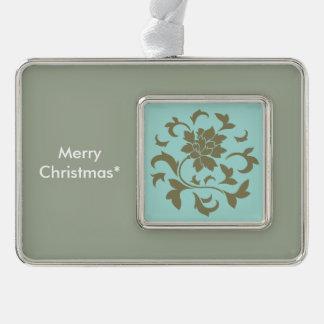 Orientalische Blume - Limpet-Muschel - olivgrünes Rahmen-Ornament Silber
