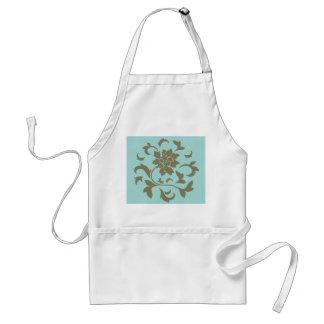 Orientalische Blume - Limpet-Muschel - olivgrünes Schürze