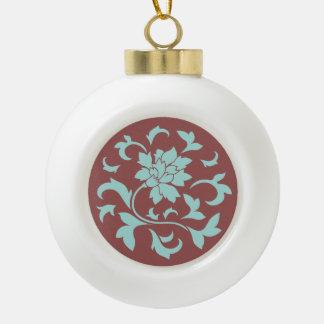 Orientalische Blume - Limpet-Muschel - Rot Keramik Kugel-Ornament