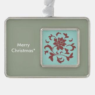 Orientalische Blume - Limpet-Muschel - Rot Rahmen-Ornament Silber
