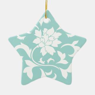 Orientalische Blume - Limpet-Muschel - Weiß Keramik Stern-Ornament