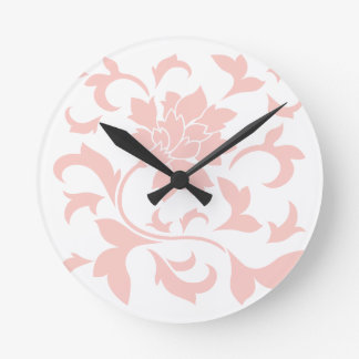 Orientalische Blume - Rosen-Quarz Runde Wanduhr