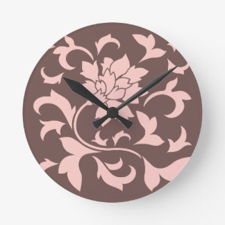Orientalische Blume - Rosen-Quarz u. Schokolade Runde Wanduhr