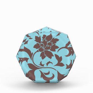Orientalische Blume - Schokolade u. Pastellblau Acryl Auszeichnung