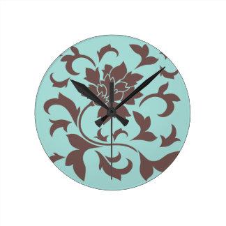 Orientalische Blume - Schokoladelimpet-Muschel Runde Wanduhr