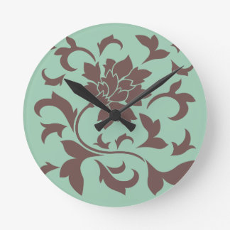 Orientalische Blume - Schokoladen-Schierling Runde Wanduhr