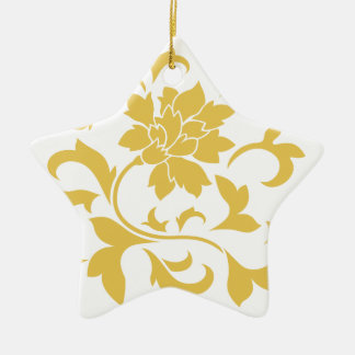 Orientalische Blume - Senf-Gelb Keramik Ornament