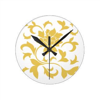 Orientalische Blume - Senf-Gelb Runde Wanduhr