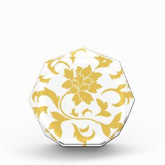 Orientalische Blume - Senf-gelbes Kreismuster Acryl Auszeichnung