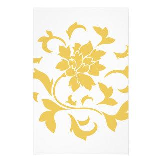 Orientalische Blume - Senf-gelbes Kreismuster Briefpapier