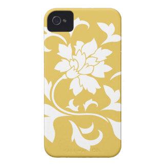 Orientalische Blume - Senf-gelbes Kreismuster iPhone 4 Case-Mate Hülle
