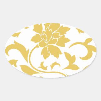 Orientalische Blume - Senf-gelbes Kreismuster Ovaler Aufkleber
