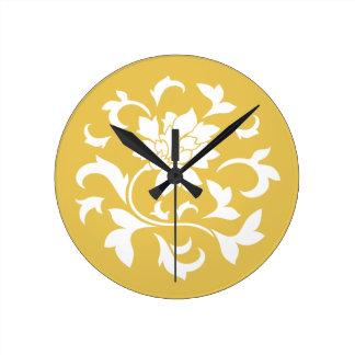 Orientalische Blume - Senf-gelbes Kreismuster Runde Wanduhr