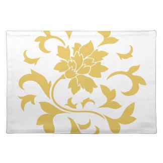 Orientalische Blume - Senf-gelbes Kreismuster Stofftischset