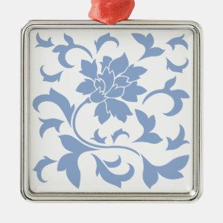 Orientalische Blume - Serenity-Blau Silbernes Ornament