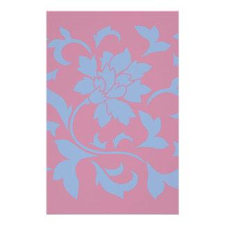 Orientalische Blume - Serenity-Blau u. Erdbeere Briefpapier