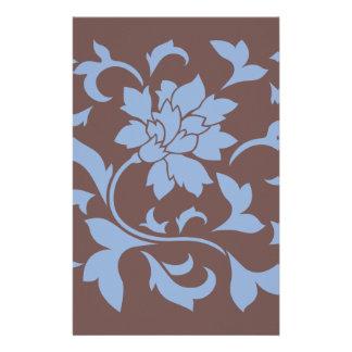 Orientalische Blume - Serenity-Blau u. Schokolade Briefpapier