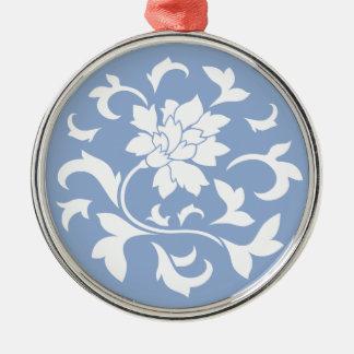 Orientalische Blume - Serenity-blaues Kreismuster Silbernes Ornament