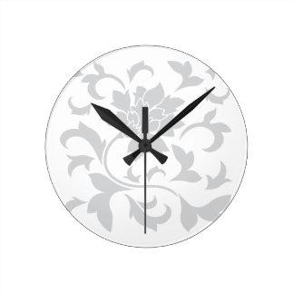 Orientalische Blume - Silber Runde Wanduhr