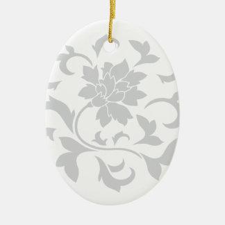 Orientalische Blume - silbernes Kreismuster Keramik Ornament