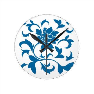 Orientalische Blume - Snorkel-Blau Runde Wanduhr