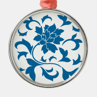 Orientalische Blume - Snorkel-Blau Silbernes Ornament