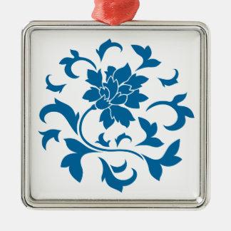 Orientalische Blume - Snorkel-blaues Kreismuster Silbernes Ornament