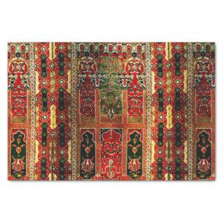 Orientalische Wolldecke im Rot und im Grün Seidenpapier