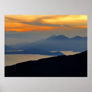 Orientalischer Abends-Nebel-gerahmter Druck Poster