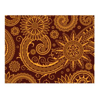 Orientalischer Perser Paisley, Wirbel - rotes Gelb Postkarte