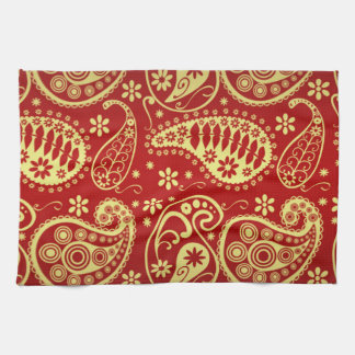Orientalisches Motiv, Paisley-Muster - rotes Gelb Handtuch